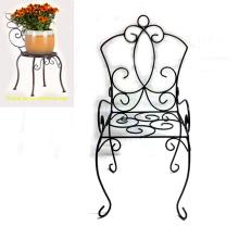 Popular Garden Decoration Metal Black Linellae Chair Flowerpot Stand