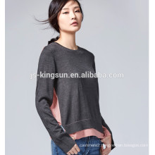 JS-11019 Side Slits Different Colors Round Neck Latest Design Ladies Sweater
