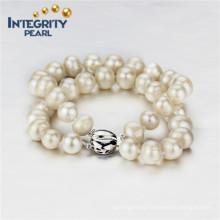 9mm AA- Freshwater Potato 2 Rows Sterling Silver Clasp Pearl Bracelet