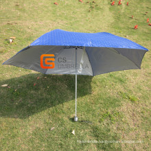 Put in Bag Mini Blue Cloth 3 Fold Umbrella (YSF3115B)