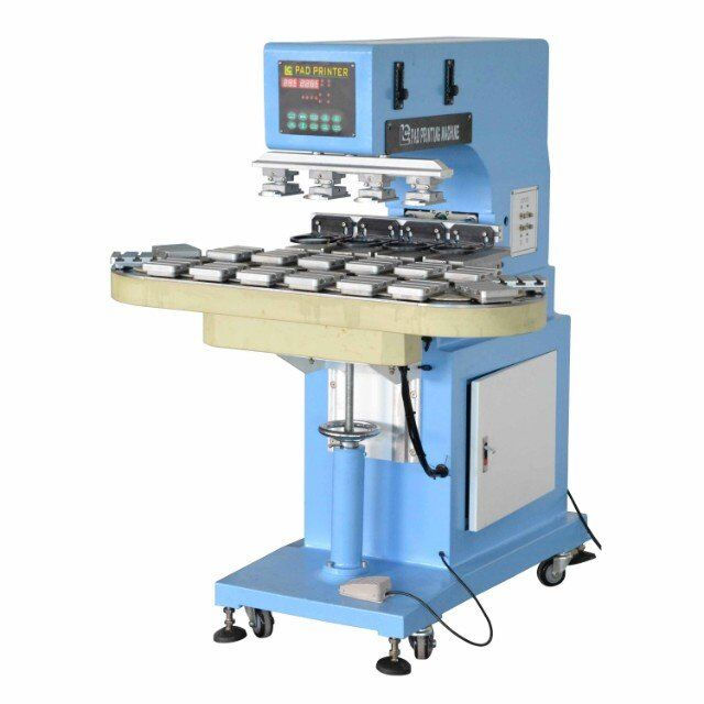 4 color pad printing machine with working conveyor