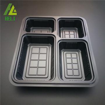 Einweg-Lunchbox aus Kunststoff mit 4 Fächern