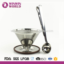 2 Cup 8/18 Stainless Steel Pour Over Coffee Maker Filter Cone and Holder With Scoop