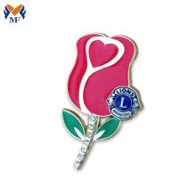 Nice design red rolse flower lapel pin badge