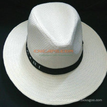 Custom Design Straw Panama Hat with Printed Ribbon for Advertising