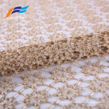 Rideau en maille de dentelle de roses de polyester de textile à la maison élégant