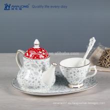Juego de té occidental del estilo de la pintura llana, sistema de té chino con la placa