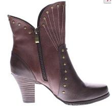 Wild West Zweifarb-Look Leder Stiefeletten für Frauen