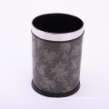 Leather Covered Open Top Flower Printed Waste Bin (A12-1903A)
