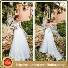 AE-06 Unique Scoop Illusion Off Shoulder Neckline Lace Appliqued Bridal Gown Long Sleeve Wedding Dress for Plus Size Women