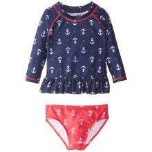 Conjunto de natación con costuras Rashguard con estampado de ancla de niñas pequeñas