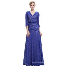 Starzz 2016 3/4 Sleeve V Neck Elegant Royal Blue Lace Long Evening Dress ST000012-3