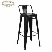 Chaises de bar et de café en fer avec tabourets hauts à dossier