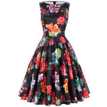Belle Poque Stock Sleeveless 37 Patterns Women Summer Cotton Floral Print Vintage Dress BP000002-28