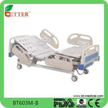 Cama de hospital elétrica de três funções Deluxe com sistema de freio central