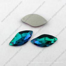 Zircon bleu décoratif à dos plat cousu sur strass