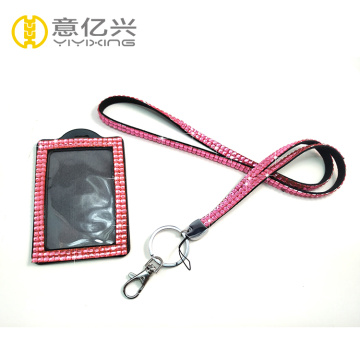 al por mayor rosa bling id cuello lanyards