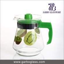 Pichet en verre imprimé 1,5L, pichet à eau avec couvercle en plastique et poignée