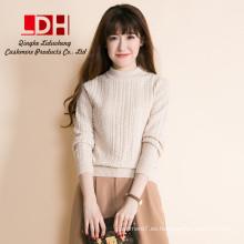 2017 otoño invierno nueva moda cálida apretada patrón grueso suéter de cuello alto manga larga mujeres suéteres de cachemira prendas de punto