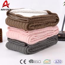 100% poliéster dupla camada cabo de malha sherpa acrílico cobertor