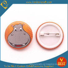 Hippos großes Lächeln-Gesichts-Zinn-Knopf-Abzeichen für Geschenk oder Andenken