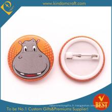 Badge de bouton de bidon de visage de grand sourire d'hippopotame pour le cadeau ou le souvenir
