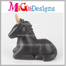 Black Color Siting Unicorn Ceramic Money Home Decor