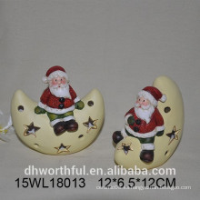 Ornamento de cerámica de la Navidad de Santa y de