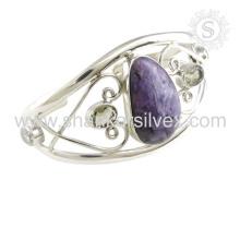 Mejor precio multi piedras preciosas brazalete de plata 925 joyas de plata esterlina joyas hechas a mano mayorista