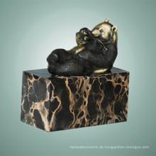 Tier Bronze Skulptur Bambus Panda Carving Deko Messing Statue Tpal-297