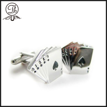 Silver metal Poker mens cufflinks