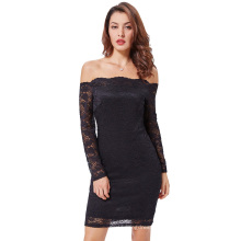 Kate Kasin Sexy Women's Off Shoulder Black Floral Lace Hips-Wrapped Bodycon Pencil Dress KK000497-1