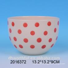 Todos los tipos de talla Rojo y Blanco tazón de cerámica