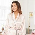 Seidenroben-Pyjama-Set Nachtwäsche mit Gürtel