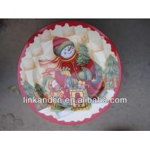 KC-02521snowman ceramic christmas plates,decorative round flat plate
