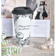 Keramik Doppelwand Promotion Reisebecher mit Silikondeckel