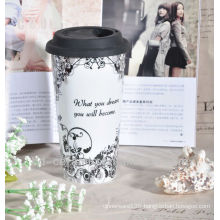 ceramic double wall promotional travel mug with silicon lid