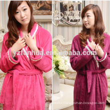 Super Soft Flannel Fleece bathrobe for Women With Lace