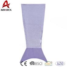 Nouvelle arrivée feuille argent violet flanelle polaire sirène queue couverture