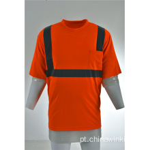 Orange High Viz Classe 3 Refletivo Segurança Short Sleeve Camisa