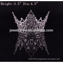 new arrival fashion metal silver plated large pageant full round diamond crowns for sale