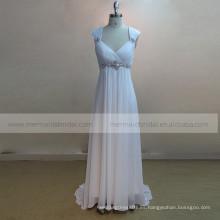 Vestido de boda plisado de la gasa del amor de la manga del casquillo del A-line encantador de la manga que rebordea en la cintura