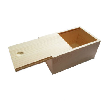 Wooden Unfinished Storage Box with Slide Top
