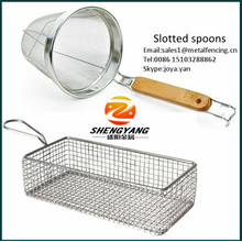 Eco-friendly kitchenware double mesh fine strainers deep fry baskets food grade stainless steel slotted spoon