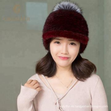 Nuevos productos de piel pom pom beanie sombreros al por mayor