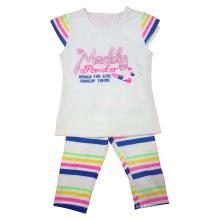 Camiseta y pantalones al por mayor de la muchacha de los niños con impreso (SQ-015)
