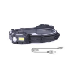 ABS USB Rechargeable Sensor COB Led Headlamp