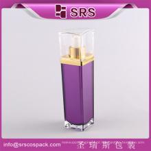 Bottle Design Luxo Roxo Praça Forma China Promoção Loção Cosmética Bomba Container 30ml 50ml 80ml 120ml Garrafa Plástica
