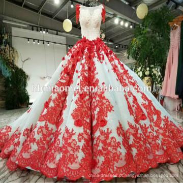 2018 Mais Recentes Vestidos de Casamento Vestidos de Noiva Puffy Vestidos De Noiva De Luxo Vermelho