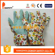 Flower Design Back Gardening Gloves with Green Dots on Palm Dgb106